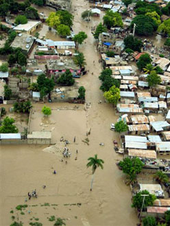 Image of the flood waters in Gonaïves, Haiti after Hurricane Jeanne